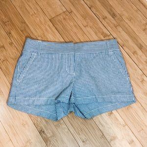 3/$35 J CREW sz 2 blue white striped shorts NWOT